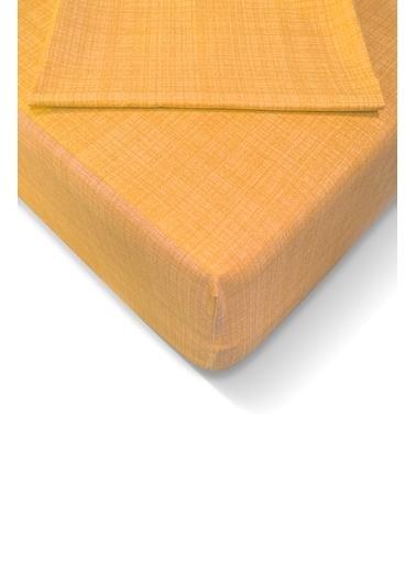 Alla Turca Ranforce 180*200 cm Lastikli Çarşaf Seti Sarı